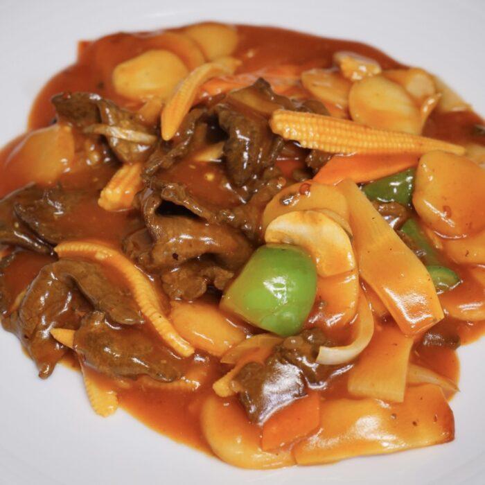 19. Biff i Gongbao saus (sursøt&sterk)